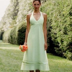 Honeydew Green Bridesmaid Halter Dress